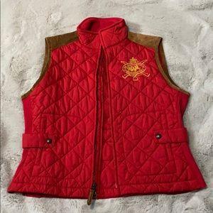 Red quilted Ralph Lauren sport vest